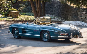 Picture Roadster, Blue, Retro, 1962, Mercedes-Benz 300 SL