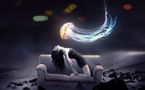 Picture nature, sofa, Medusa, bokeh, girl art