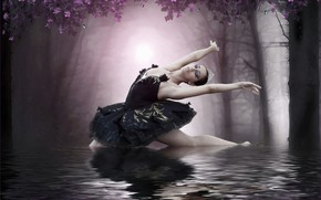 Picture girl, lake, ballerina, photoart