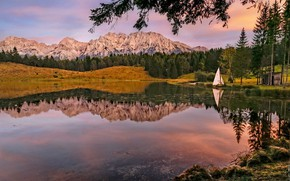 Picture autumn, forest, trees, landscape, mountains, nature, lake, reflection, boat, sailboat, Germany, Bayern, Alps