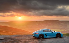 Picture the sun, clouds, rays, light, sunset, porsche, 2018, porsche 718, porsche 718 cayman gts, porsche …