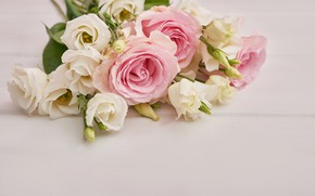 Picture table, bouquet, pink, white, customa