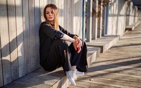 Picture girl, pose, the fence, sneakers, Valentine, Сергей Лукутов
