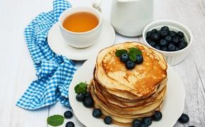 Picture berries, table, Breakfast, blueberries, honey, pancakes, Olena Rudo
