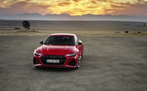 Picture sunset, Audi, the evening, front view, Sportback, RS 7, RS7, 2020