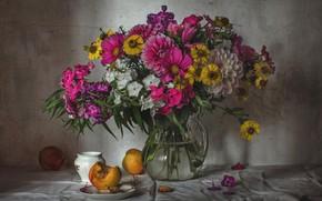 Picture bouquet, peach, Phlox, Dahlia, zinnia