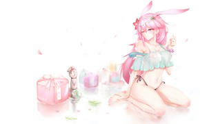 Picture girl, box, art, ears, yae sakura, honkai impact
