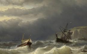 Picture oil, picture, seascape, 1866, Storm in Pas-de-Calais, Johan Hendrik Louis Meijer, Louis Meijer