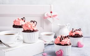 Picture coffee, cream, chocolate, cupcakes, Iryna Melnyk