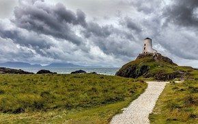 Picture coast, lighthouse, Wales, INIS Llanddwyn
