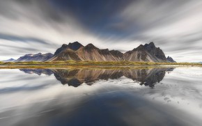Picture the sky, water, mountains, reflection, rocks, Iceland, Vestrahorn
