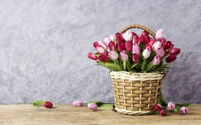 Picture flowers, tulips, love, pink, basket, vintage, wood, pink, flowers, beautiful, romantic, tulips