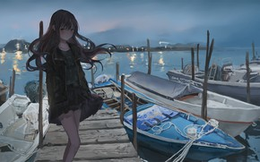 Picture Girl, Pier, Boats, Art