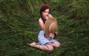 Picture greens, look, nature, pose, model, portrait, hat, makeup, dress, tattoo, hairstyle, brown hair, legs, beauty, …