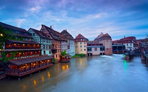 Picture the city, river, France, building, home, lighting, twilight, Strasbourg, municipality