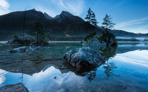 Picture forest, the sky, trees, mountains, lake, reflection, blue, stones, rocks, blue, shore, tops, the bottom, …