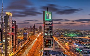 Picture road, the sky, clouds, night, the city, lights, lights, movement, view, building, home, skyscrapers, the …