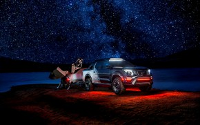 Picture night, stars, backlight, Nissan, pickup, the trailer, 2018, Navara, Dark Sky Concept