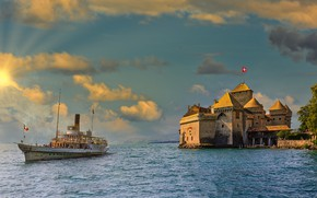 Picture landscape, lake, castle, ship, Switzerland, tower, Lake Geneva, Chillon