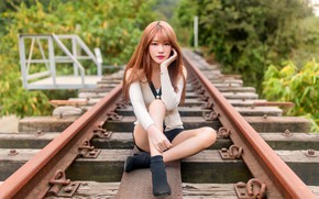 Picture look, girl, pose, hair, rails, Asian, cutie