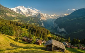 Wallpaper forest, the sky, the sun, trees, mountains, rocks, Switzerland, valley, slope, panorama, houses, gorge, the ...