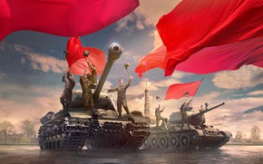 Wallpaper figure, area, art, glee, red, tanks, banners, World of Tanks, tankers, Soviet, WOT