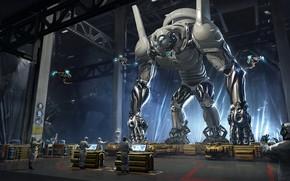 Picture robot, engineers, bunker
