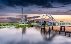 Picture water, landscape, bridge, nature, village, mill, Netherlands, Kinderdijk