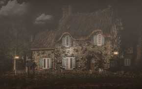 Picture clouds, landscape, night, nature, house, rendering, the fence, Windows, the door, lights, house, twilight, twilight, …