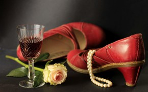 Picture wine, glass, rose, necklace, shoes