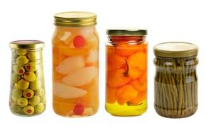 Picture white background, pear, pepper, banks, still life, vegetables, olives, peach, pickles, asparagus, pepper, conservation