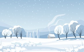 Picture winter, field, forest, the sky, snow, trees, mountains, house, smoke, figure, graphics, vector, texture, pipe, …