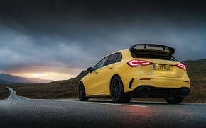 Picture road, sunset, overcast, lights, Mercedes-Benz, AMG, hatchback, UK-spec, 2020, 4MATIC+, A45 S, Aerodynamic Package