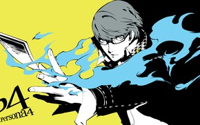 Picture flame, the game, hand, anime, art, glasses, guy, Persona 4, Person 4