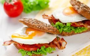 Picture egg, bread, tomato, sandwich, bacon