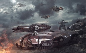 Picture tank, starcraft, battle, StarCraft, cruiser, strategy, Terran, terrans, battlecrusier, the vulture, Goliath, nak ma
