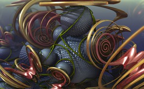 Picture balls, curls, 3D graphics