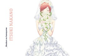 Picture white background, red, wedding dress, closed eyes, the bride's bouquet, a wreath of roses, Toubun …