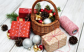 Picture winter, holiday, toys, new year, gifts, basket, Olena Rudo