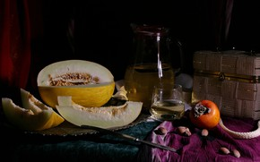 Picture the dark background, wine, glass, juice, knife, fabric, bag, nuts, still life, items, composition, melon, …