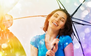 Picture the sun, drops, glare, rain, umbrella, makeup, t-shirt, hairstyle, brown hair, beauty, is, keeps, bokeh, …