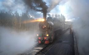 Picture forest, light, landscape, nature, Park, smoke, rails, train, railroad, Karelia, Ruskeala, Andrey Bazanov