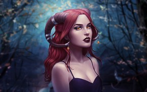 Picture Girl, Figure, Look, Forest, Lips, Style, Face, Girl, The demon, Fantasy, Horns, Beautiful, Succubus, Style, …