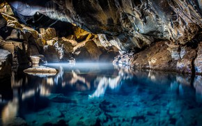 Picture water, light, nature, lake, stones, cave, Iceland, Миватн