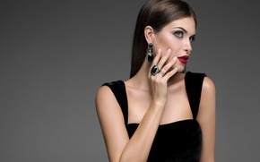Picture style, model, earrings, ring