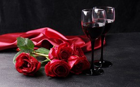 Picture red, romance, wine, roses, March 8, glasses