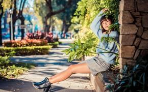 Picture girl, branches, skirt, blouse, legs, Asian, bokeh