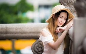 Picture look, girl, hat, Asian, cutie, bokeh