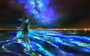 Picture sea, night, fantasy, elf, the milky way