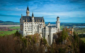 Picture Home, Mountains, Trees, Germany, Castle, Bayern, Germany, Neuschwanstein, Bavaria, Neuschwanstein Castle, Bavarian Alps, The Bavarian …